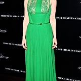 Gorgeous in lacy green Elie Saab at a pre-Oscars event.