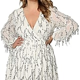 Astra Curve Deep V-Neck Sequin Beaded Fringed Mini Dress