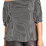 City Chic Neck Tie Stripe Off the Shoulder Top