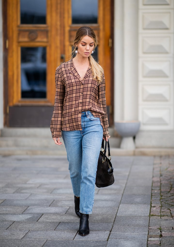 Half Tucked Plaid Over Jeans and Boots