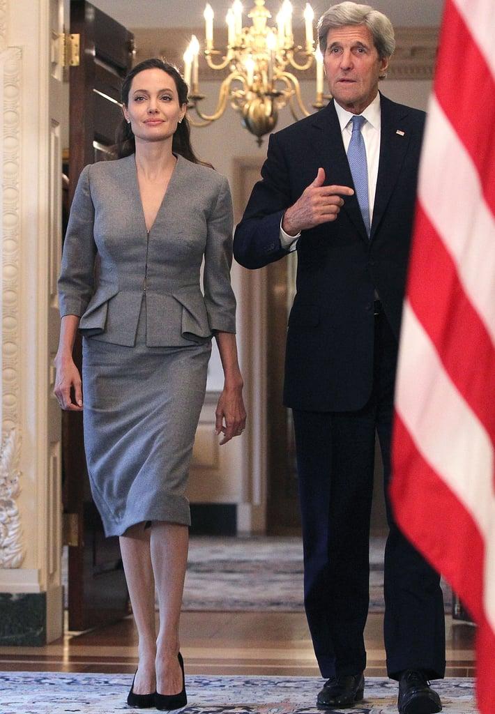 Angelina Jolie Gray Suit World Refugee Day June 2016