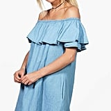 Boohoo Rachael Ruffle Chambray Dress