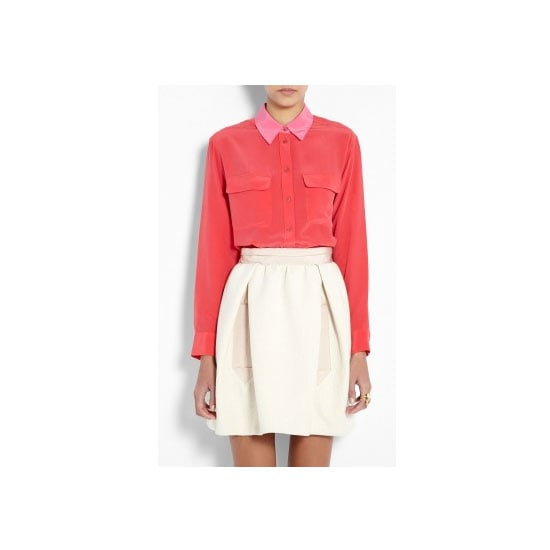 I'm kind of late to the whole silk shirt thing (I'm a late trend adopter). But if I were to get one, I'd want it to be from Equipment, and preferably in something bright and punchy. I love the contrast of the collar on this shirt and the pink-coral mix! — Jessica, editor, PopSugar Shirt, $298, Equipment at My Wardrobe