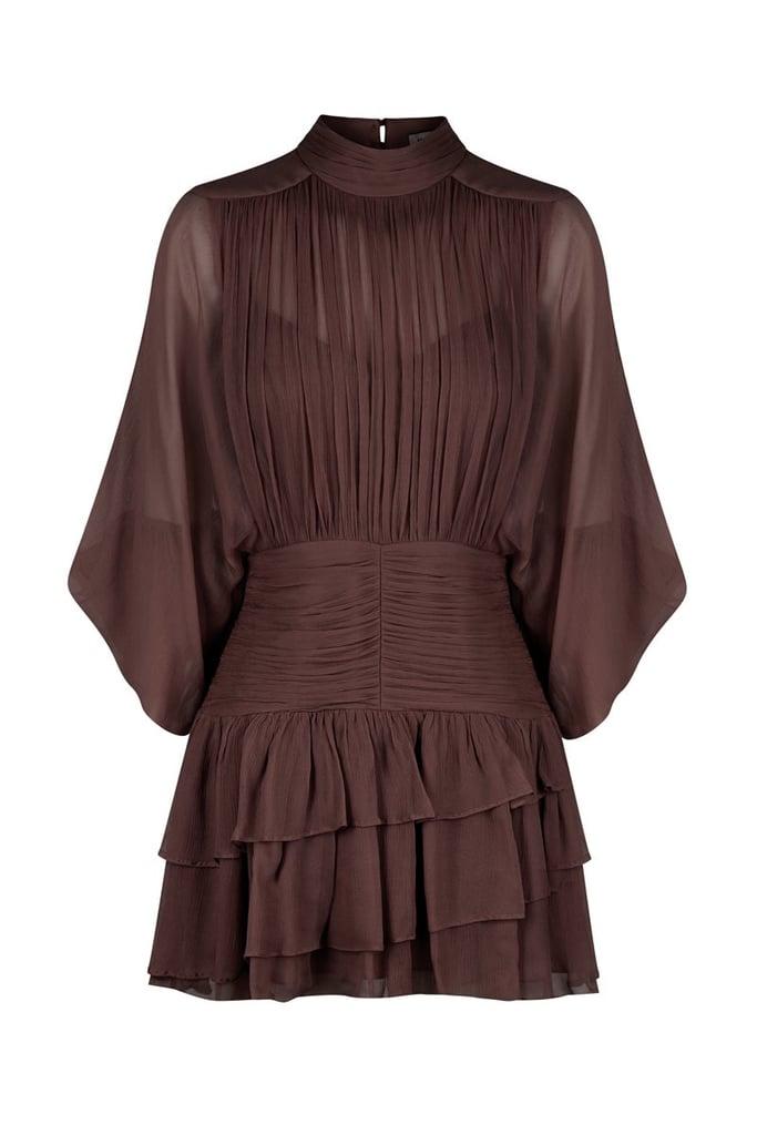 Shona Joy Olympia Long Sleeve Ruched Minidress in Chocolate