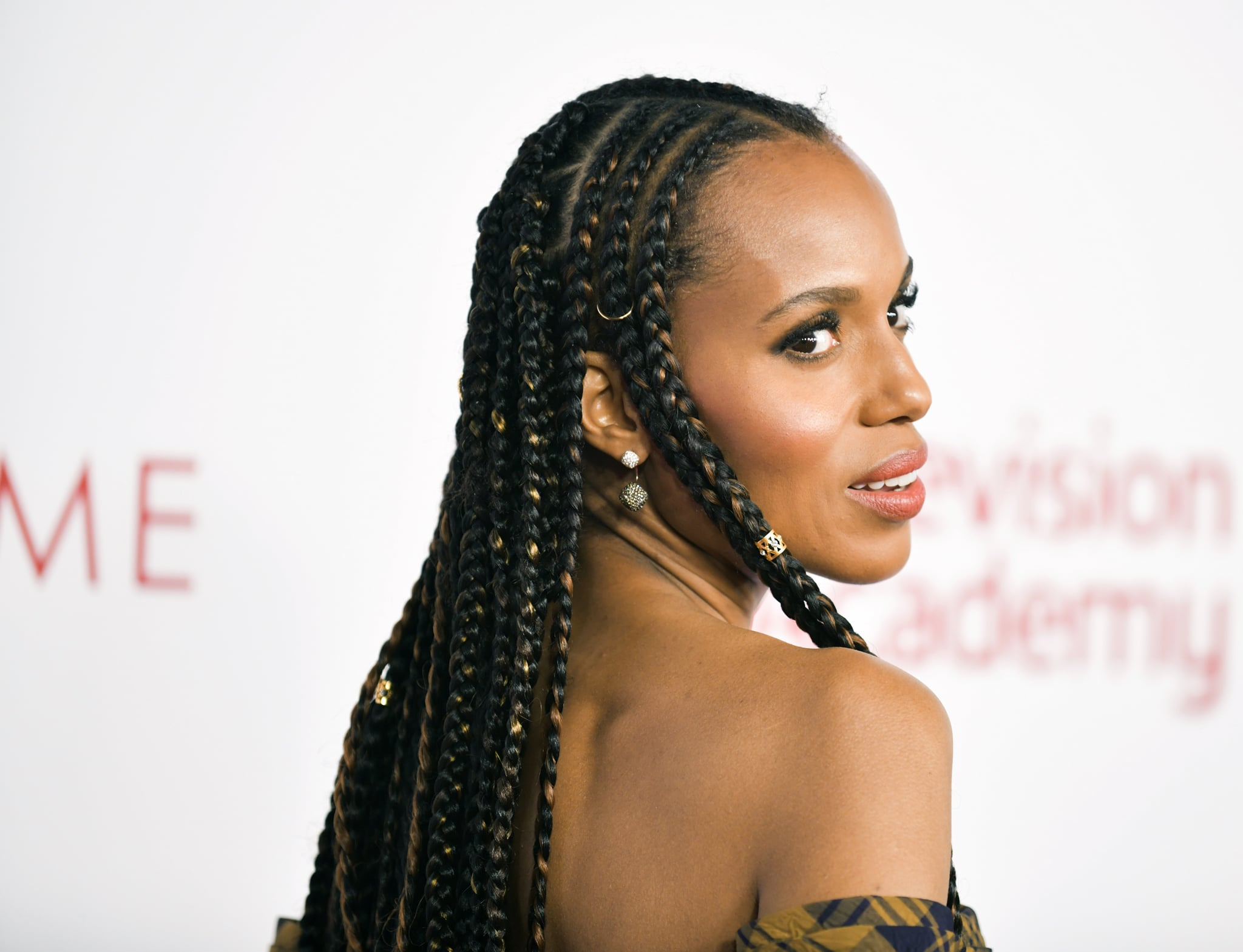 NORTH HOLLYWOOD, CALIFORNIA - JANUARY 28: Kerry Washington, hair detail, attends the Television Academy's 25th Hall Of Fame Induction Ceremony at Saban Media Center on January 28, 2020 in North Hollywood, California. (Photo by Rodin Eckenroth/FilmMagic)