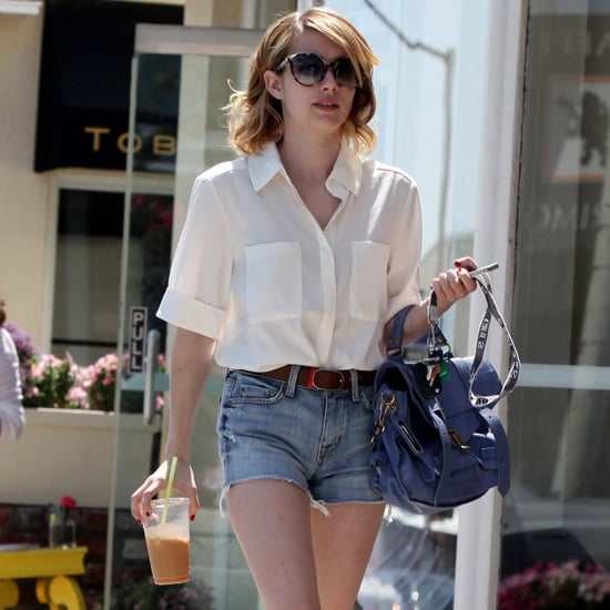 Emma Roberts in Denim Shorts in West Hollywood