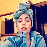 Lady Gaga went double denim in Finland. Source: Instagram user ladygaga