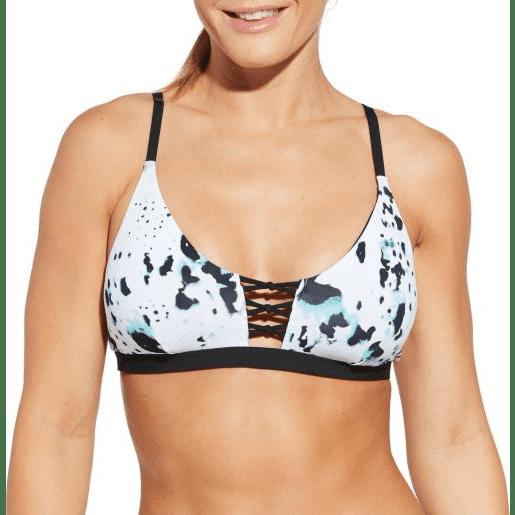 CALIA Women's Lattice Front Printed Bikini Top