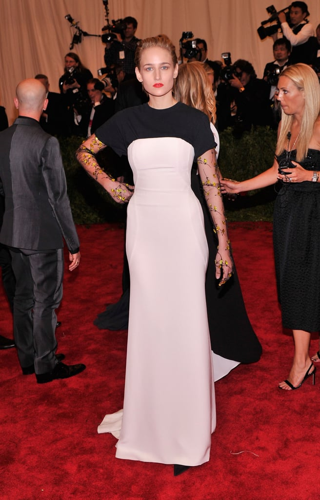 Leelee Sobieski's black-and-white Christian Dior gown was cool, but her embellished sleeves were even cooler.