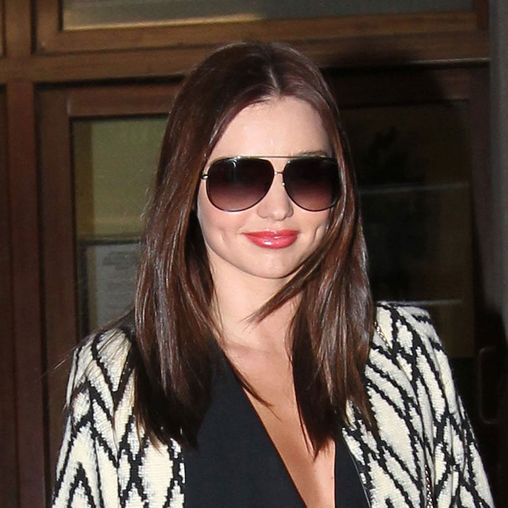 Seen here in Sydney last week, Miranda wore bright lips to a David Jones appointment.