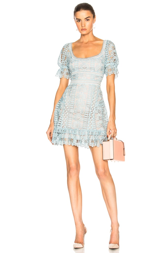 Our Pick: Self-Portrait Floral Guipure Mini Dress in Baby Blue