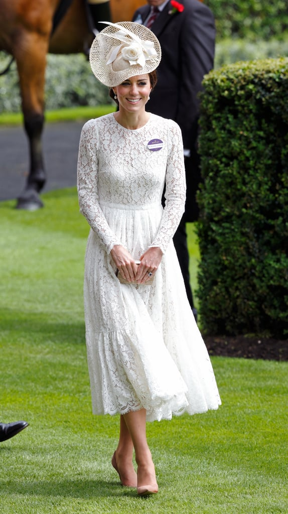Kate Wore This Cream Dolce & Gabbana Midi For the Royal Ascot in June 2016