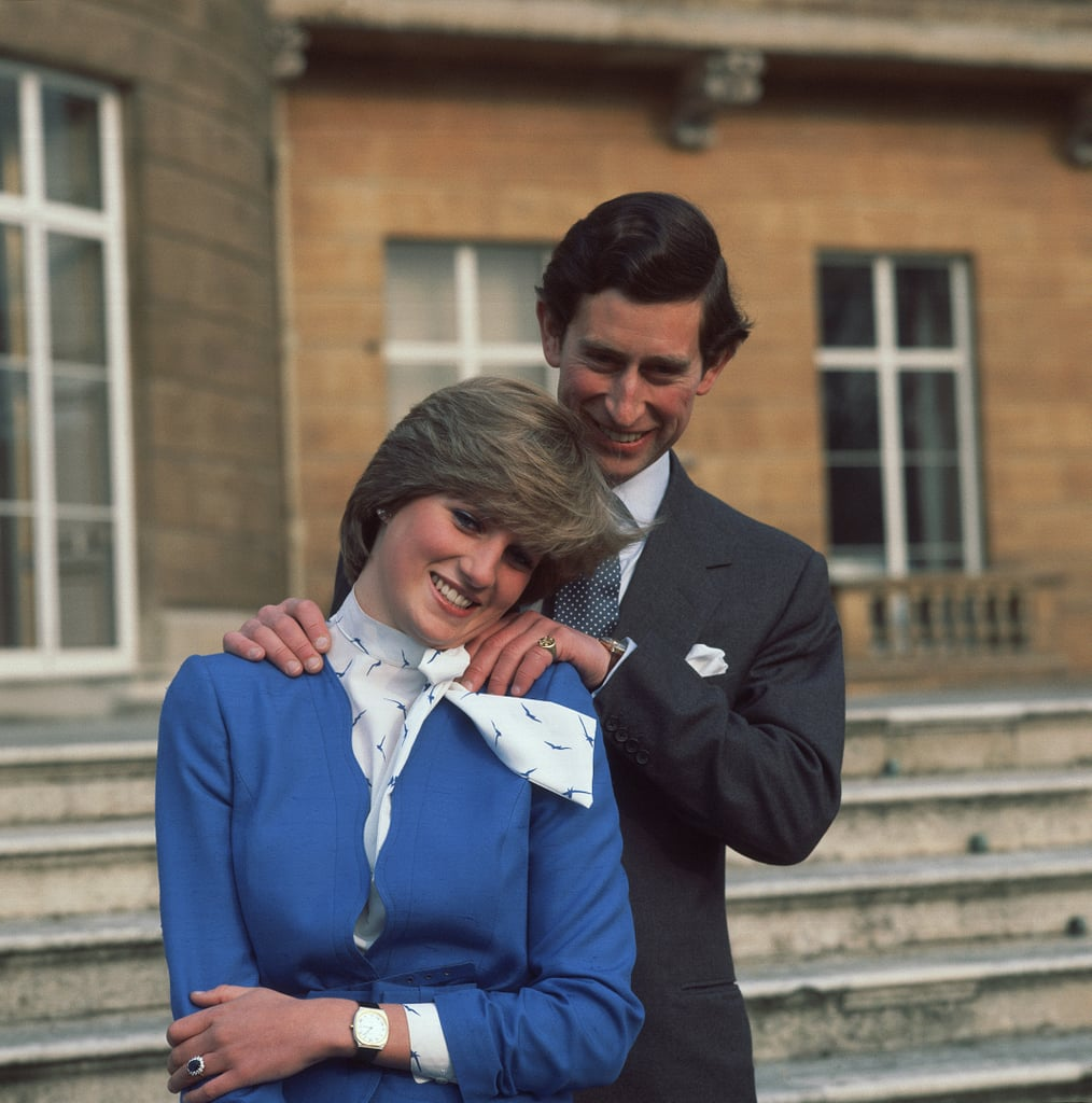It was all smiles for Charles and Diana as they posed for photographs outside of Buckingham Palace after their February 1981 engagement announcement.