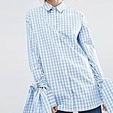 Gingham Check Cotton Shirt with Extreme Tie Sleeves, $75