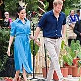 Meghan Markle Blue Veronica Beard Dress in Tonga 2018