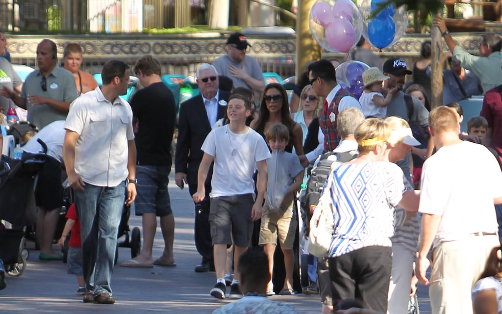 David Beckham and Victoria Beckham took their boys and daughter Harper Beckham to Disneyland.