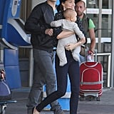 Orlando Bloom, Miranda Kerr, and Flynn Bloom arrive in Paris off the Eurostar.