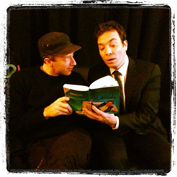 Jimmy Fallon read a book to Chris Martin. Source: Instagram user jimmyfallon
