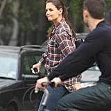 Katie Holmes wore a plaid shirt in NYC.