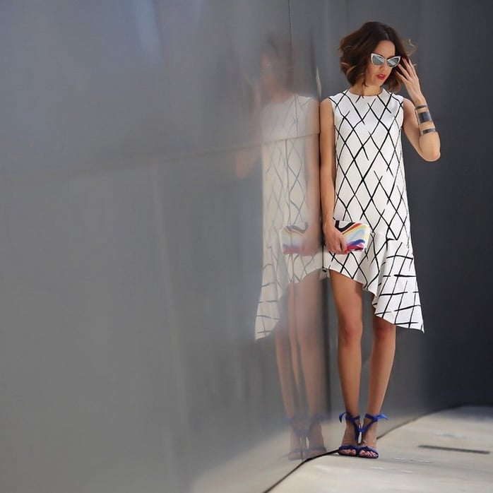 A White Printed Dress With Colorful Heels