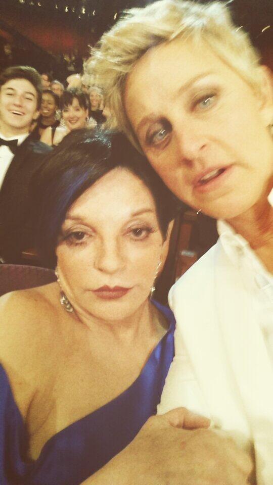 """Ellen DeGeneres posted a picture with Liza Minnelli — """"#Besties."""" Source: Twitter user TheEllenShow"""