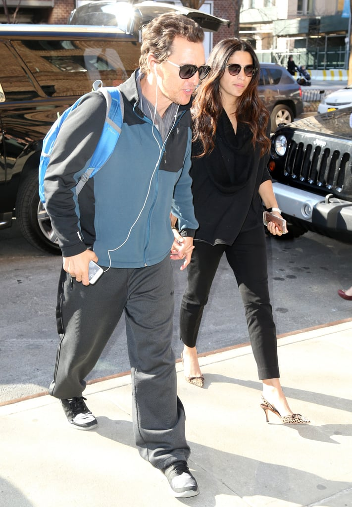 """Matthew McConaughey and wife Camila Alves were spotted out in NYC on Tuesday afternoon. The couple, who's been going strong for ten years now, walked hand in hand while making their way into a building. This is the latest we've seen of the duo since their rare red carpet appearance in Beverly Hills last month. But while the pair has been enjoying their time away from the spotlight, Camila has been active on Instagram, sharing a slew of """"aw""""-inducing family moments. Meanwhile, Matthew is set to return to the big screen in Gold later this year. Keep reading to see more of the casual outing, and then flip through Matthew's sexiest moments of all time."""