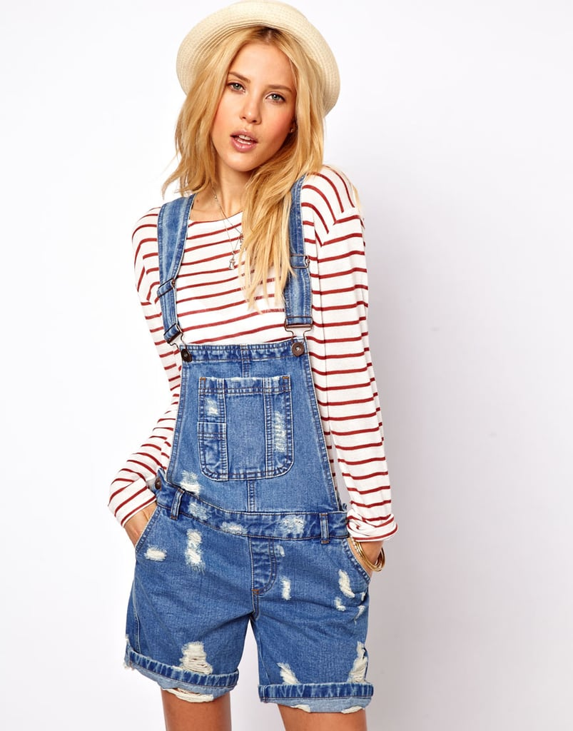I was skeptical at first, but after seeing how cute Alexa Chung and Rihanna have looked in overalls lately, I'm more than a little tempted to test-drive the trend. These distressed ASOS short denim overalls ($68), with a nice blue vintage wash, are going to be my first attempt.  — KS