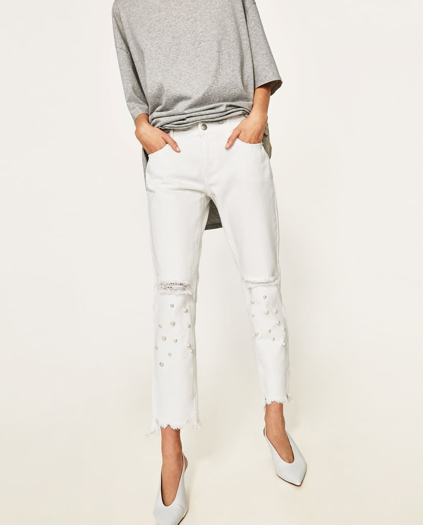 Zara Jeans With Faux Pearls