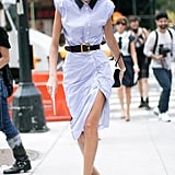 Giovanna Battaglia Engelbert is total sophistication in her belted shirtdress and pumps.