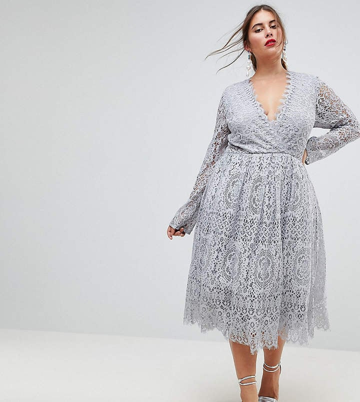Asos Long Sleeve Lace Midi Prom Dress Wedding Guest Dresses For