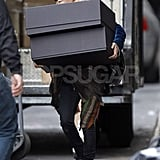 Mary-Kate Olsen carried two large boxes to her car in NYC.