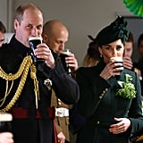 March: Kate and Will attended the St. Patrick's Day parade and enjoyed glasses of beer.