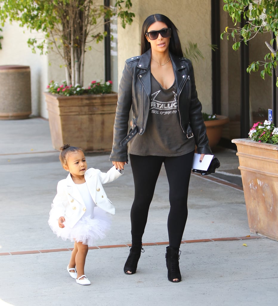 North dressed up her tutu with a Balmain blazer for ballet class in May 2015.