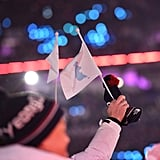Athletes from North and South Korea wave the Unification Flag.