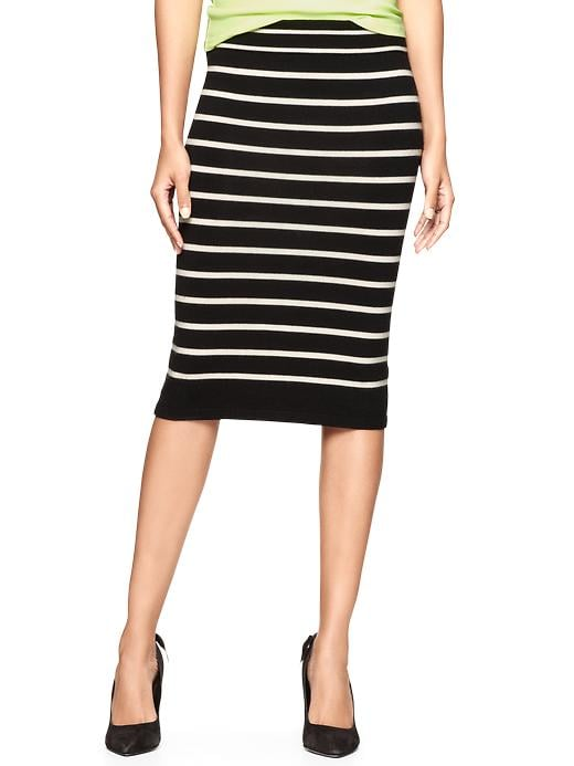 This Gap knit striped skirt ($60) would look amazing with a simple white tee, classic pumps, and a statement bib necklace.