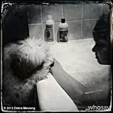 Roman Zelman had a little visitor during his bath. Source: Instagram user therealdebramessing