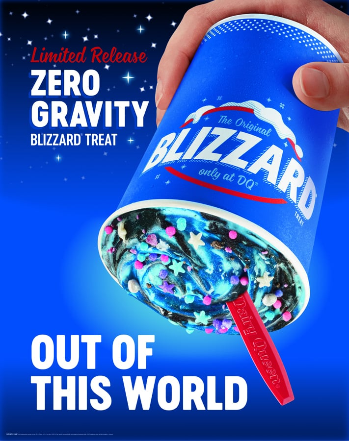 """Houston, we have ice cream. In honor of the 50th anniversary of the moon landing, Dairy Queen has created a galaxy-inspired Blizzard, and I'm already seeing stars. Made with blue vanilla soft serve, the limited-edition Out-of-This-World Blizzard is swirled with chunks of Oreo cookie, cotton candy pieces, and sprinkles swirly cosmic sparkles, so it's definitely a space-age treat. Available beginning on June 24 at participating Dairy Queen locations nationwide, the Out-of-This-World Blizzard is truly a """"zero gravity"""" ice cream and can be flipped upside down without spilling, like all good blizzards. Unlike other blizzards, this one also comes with its own DQ Zero Gravity Spotify playlist to get you in a cosmic mood. So grab your spaceships spoons and prepare for a galactic ice cream experience that's totally out of this world.      Related:                                                                                                           Attention, Shoppers! Trader Joe's Ube Ice Cream Has Some Seriously Rave Reviews"""