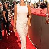 Rihanna lit up the carpet in a white dress.