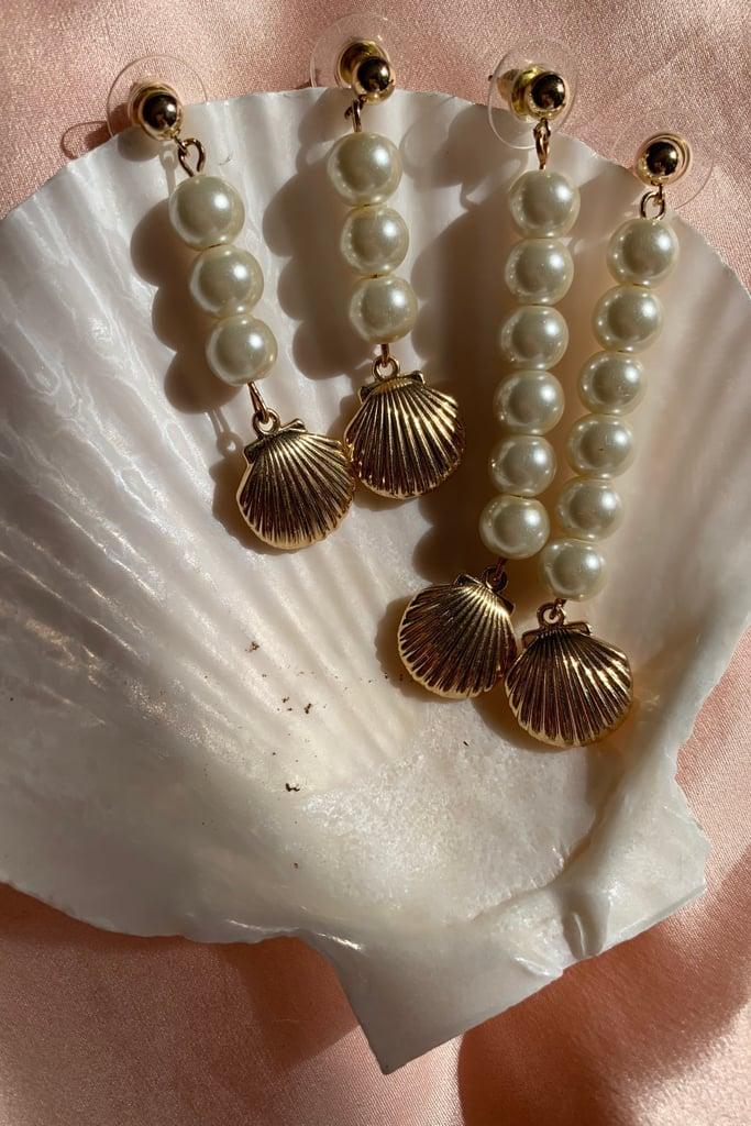 Dakota Jinx Closed Shell Pearl Drop Earrings