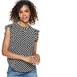 POPSUGAR at Kohl's Print Ruffle-Sleeve Top