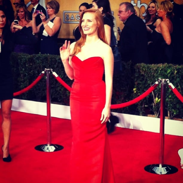 Jessica Chastain wore a fiery-red dress to the SAG Awards.