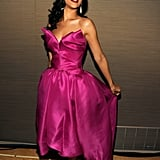 Rihanna did a ladylike curtsy in her Marchesa dress at the Time 100 gala in NYC.