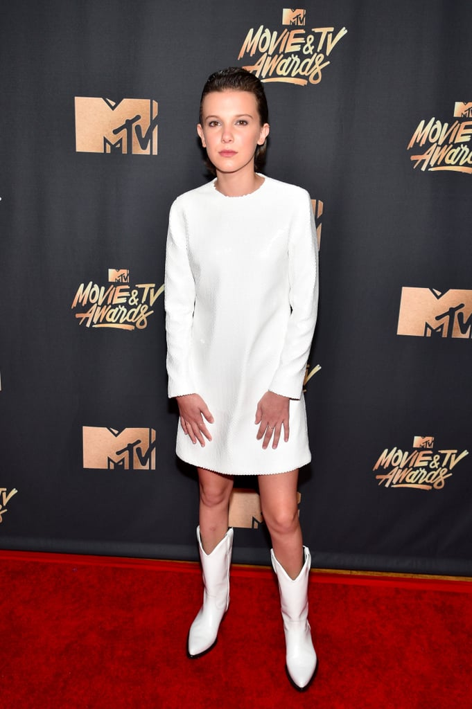 Millie Bobby Brown White Dress MTV Movie Awards 2017