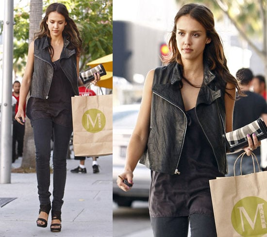 Pictures of Jessica Alba in Black Moto Vest