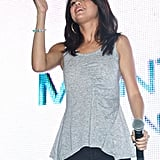 Selena Gomez looked great in skinny jeans and a gray tank.