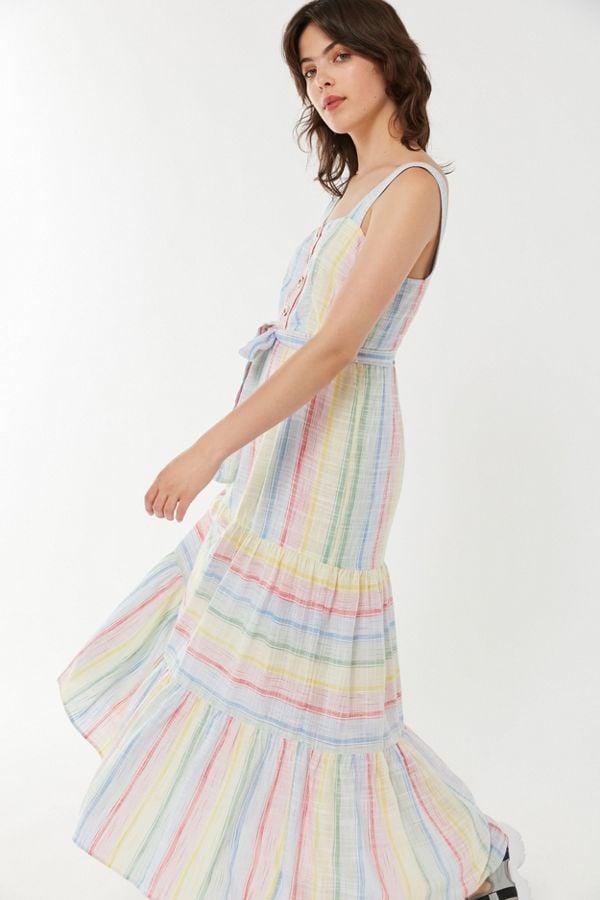 44faffb0a6 UO Sankaty Linen Ruffle Maxi Dress | Best Affordable Linen Dresses ...