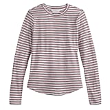 Printed Long Sleeve Tee in Double Stripe with True Red