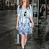 Kate Bosworth put a downtown-girl spin on the bright-blue shirtdress, wearing it with chunky black Zadig & Voltaire ankle boots instead of anything too girlie.