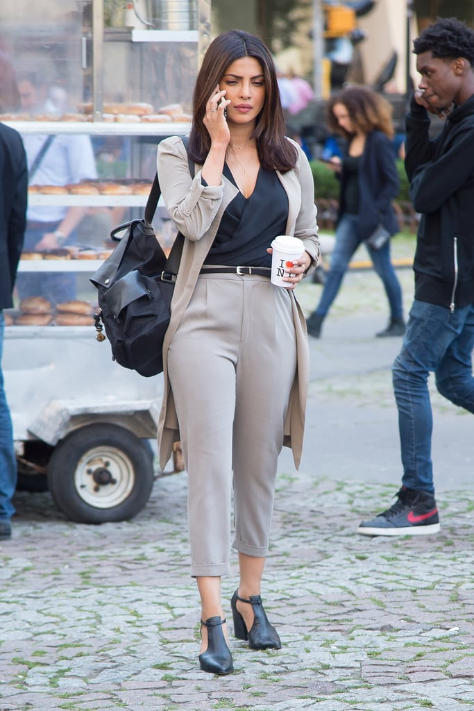 Priyanka Chopra Wearing a Suit on the Quantico Set July 2016