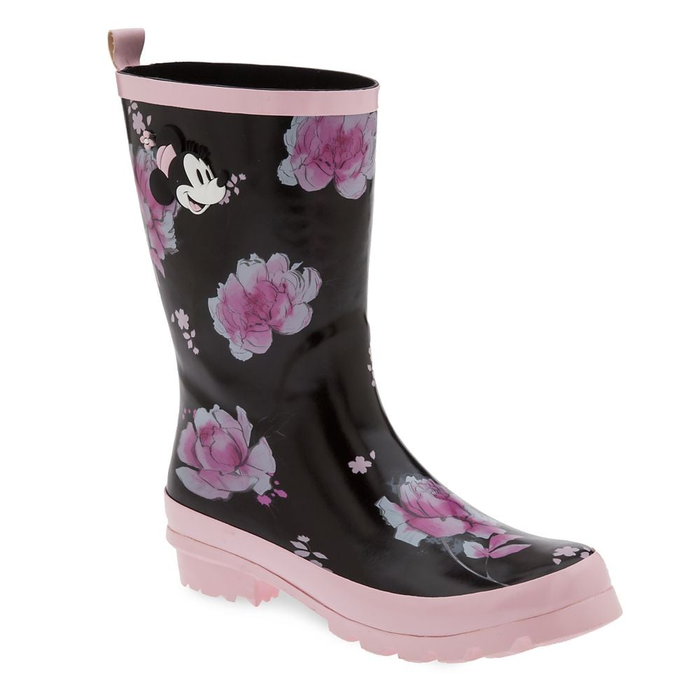 Minnie Mouse Floral Rain Boots For Women